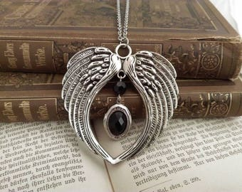 Fallen angel locket pendant necklace