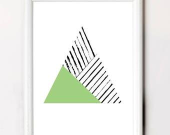 Green Minimalist Poster, Green Triangle, Tending Colour Poster, Minimalist Triangle Poster, Greenery Poster Art, Popular Poster Downloadable