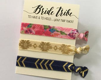 To Have And To Hold Your Hair Back Bride Tribe hair tie Navy Blue and Pink