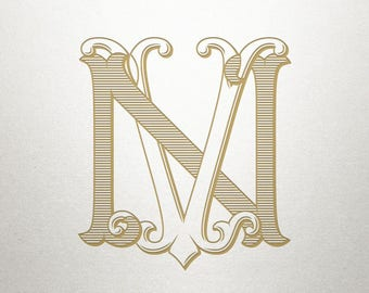 Interlocking Font Design - NV VN - Interlocking Font - Vintage