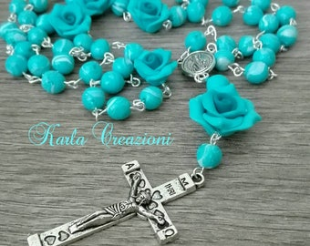 Catholic Rosary turquoise tiffany rose