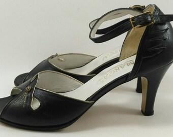 Blue ankle strap heels, vintage strappy high heel, embroidered high heel sandals