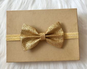 Gold Bow Headband, Gold Baby Headband, Gold Headband, Baby Headband, Newborn Headband, Girl Headband ,Infant Headband, Toddler Headband
