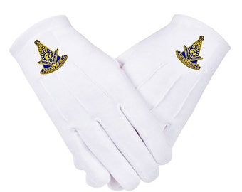 PAST MASTER GLOVES - Embroidered Logo - Cotton in 5 Sizes - Masonic