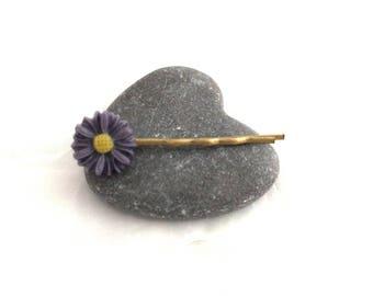 Flower Daisy purple - Bronze hair clip