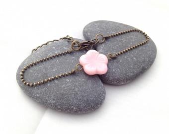 Pink flower bracelet - Bronze