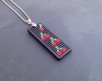 Small cherry necklace - cross stitch and silver metal.