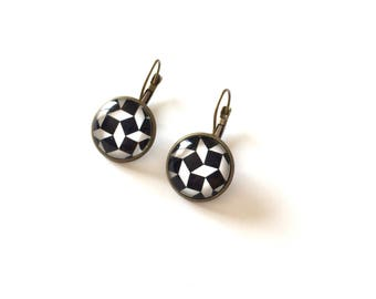 Earrings square black and white - Bronze