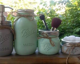mint and grey mason jar set - 4pc