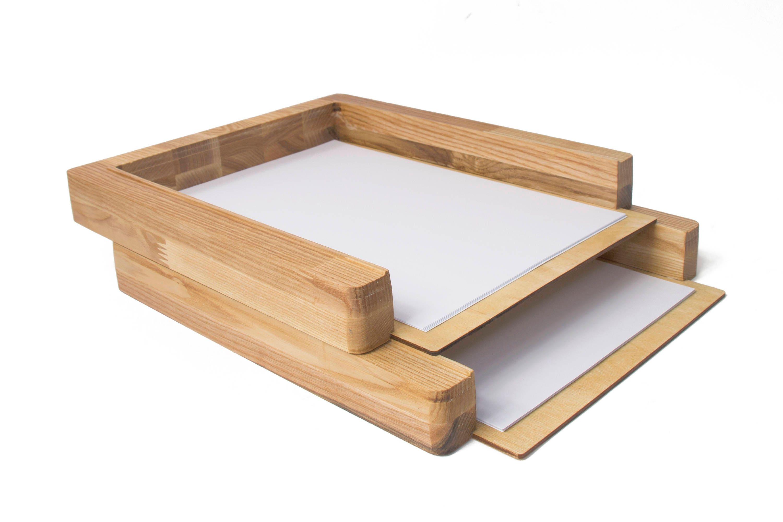 paper tray 2 stages desk organizer wood paper sorter desk. Black Bedroom Furniture Sets. Home Design Ideas