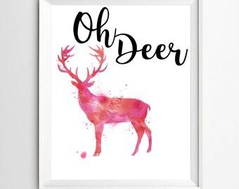 Oh deer print printable wall art digital print deer antler art print home decor teen room decor printable antler