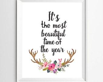 Holiday wall art, quote printable, Christmas printable, winter sign print, typography poster Digital xmas decor, Christmas party decor