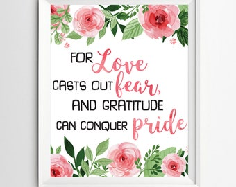 For love casts out fear Inspirational Print Modern decor typography kids wall decoration Wall Decor printable art poster Typography