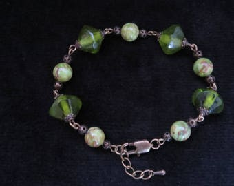 retro bracelet with green glass beads