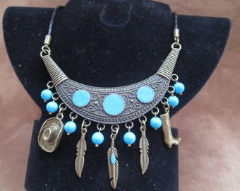 bronze necklace and country leather with blue turquoise beads