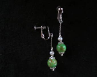 earrings with system for non pierced with pearls