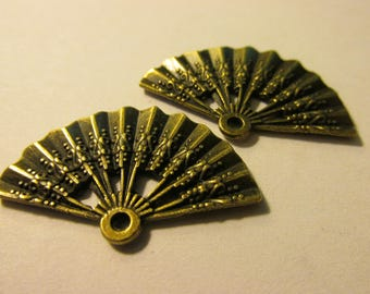 "Bronze Tone Metal Japanese Fan Charm-Pendant, 1 1/4"", Set of 2"