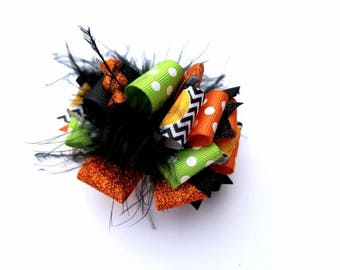 Funky Loopy Halloween Hair Bow, Halloween Hair Bow, Halloween Hair Accessories, ott Hair How
