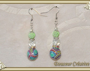 Multicolor translucent Green Pearl rhinestone earrings 104076