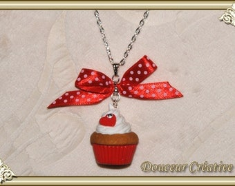 Red cupcake necklace love 110004