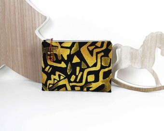 Flat clutch bag in golden yellow black African fabric