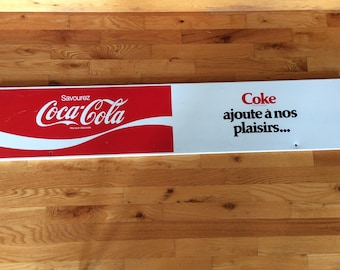 "Long 48"" Coca Cola advertising sign Country store decor collectible"