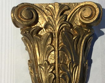 Antique wood carved pillar sconce church salvage top column shelve corbel
