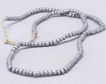 "Antique aluminium beads strand. 62 cm. / 24"". Sudan. Tribal, ethnic jewelry"