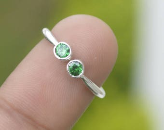 Round Cut Green Emerald Sterling Silver Ring,  Emerald 14K Yellow Gold Ring, Stacking Rings,  Adjustable Ring,  Delicate Emerald Gold Ring