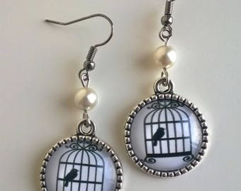 White Pearl cabochons caged bird earrings