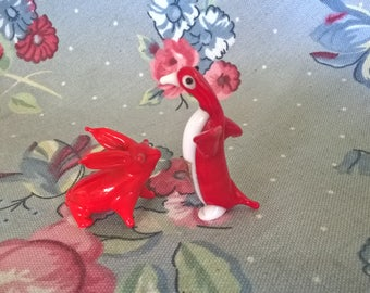 Vintage Handblown Red Glass Bunny And Penquin Miniatures