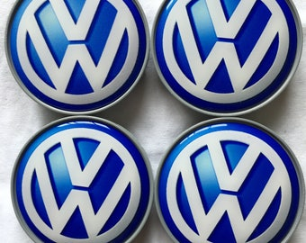 "On Sale now!!! 4 pcs. set. ""VW-Wolksvagen"" 68 mm. white,grey&blue wheel center caps, badges ,emblems"