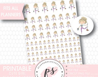 Cute Girl Cleaning To Clean Icon Printable Planner Stickers | JPG/PDF/Silhouette Compatible Cut File