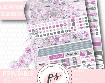 Cinderella December Monthly View Kit Printable Planner Stickers (for Classic Happy Planner) | JPG/PDF/Silhouette Cut File