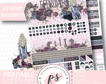 Game of Thrones GOT February 2018 Monthly View Kit Digital Printable Planner Stickers (Erin Condren)|JPG/PDF/Silhouette Compatible Cut File