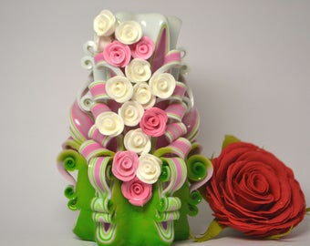 Carved candle pink and green Christmas gift rose candle little dekor beautiful gift mom hand made roses carving candles white pink flowers