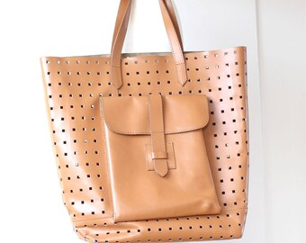 Tan leather tote with holes, honey tan leather day bag, nude leather tote