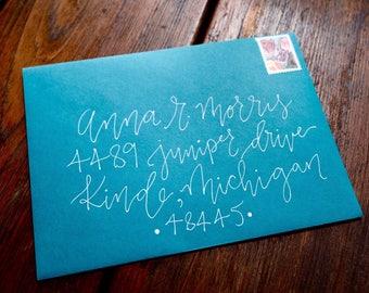 White Calligraphy Invitation, Wedding Envelope Calligraphy, Envelope Addressing, Green Wedding Envelopes, Green Envelope, Calligrapher