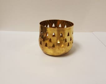 Vintage Pierced Asian Brass Votive Candle Holder Lantern