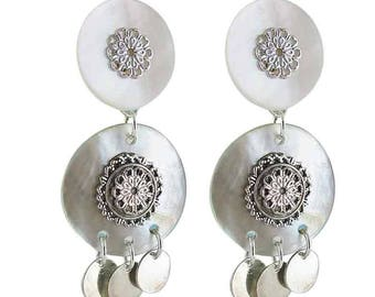 Earring clip white Milan (made in France)