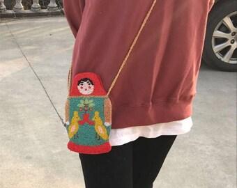 Matryoshka doll bag, Handmade beaded womens' message bag, McDull bag