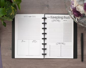 KEEPING TRACK Circa Junior Planner Inserts, Circa Jr. Planner Pages, TUL Junior, Weekly Tracker, Habit Tracker, Discbound Planner Pages