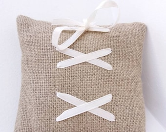 Customizable ring bearer pillow in linen with lacing