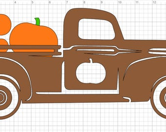 Halloween Fall Pumpkin Truck SVG PDF EPS Dxf & Studio 3 Cut Files