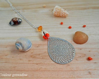 Bi color Shell drop necklace