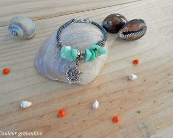 Rudder beads, green, black, gift idea bracelet mother of grand mothers, Easter