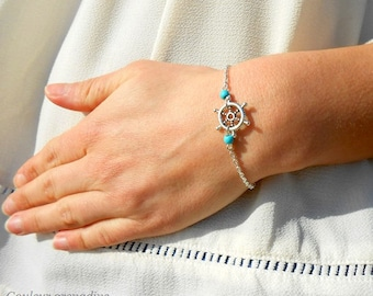 Marine bracelet, chain and rudder, turquoise beads, gift idea for large party day, Easter