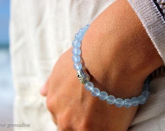 Blue bracelet unisex, natural agate beads, silver Buddha head, gift idea for large party day, Easter