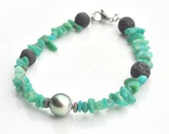Bracelet Tahitian Pearl and amazonite beads