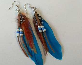 Ethnic earrings blue and brown colored feathers